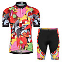 cheap Cycling Jersey & Shorts / Pants Sets-Malciklo Boys' Girls' Short Sleeve Cycling Jersey with Shorts - Red / Yellow Animal Bike Breathable Sports Floral / Botanical Clothing Apparel / Stretchy