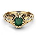זול סטים של תכשיטים-בגדי ריקוד נשים טבעת הטבעת טבעת זירקונה מעוקבת 1pc צהוב נחושת ציפוי זהב Geometric Shape ארבע שיניים פאר עיצוב מיוחד ארופאי Party מתנה תכשיטים קלאסי מגניב