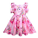 billige Pikekjoler-Barn Jente søt stil Ut på byen Regnbue Ermeløs Knelang Polyester Kjole Rosa