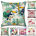 halpa Tyynyliinat-1 kpl Puuvilla / pellava Tyynynpäälinen, Flamingo 3D Print Vapaa-aika Muoti Heittää tyyny