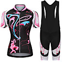 cheap Triathlon Clothing-Women's Short Sleeve Cycling Jersey with Bib Shorts - Pink / Black Pink+White Floral Botanical Bike Clothing Suit Breathable Quick Dry Reflective Strips Sweat-wicking Sports Floral Botanical Mountain