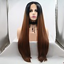cheap Doll Wigs-Synthetic Lace Front Wig Straight / kinky Straight Style Layered Haircut Lace Front Wig Black Medium Auburn Synthetic Hair 24 inch Women's Women / Ombre Hair Black / Brown Wig Long Sylvia 130% Density