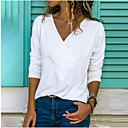 billige Møbelbetræk-V-hals Dame - Ensfarvet Plusstørrelser T-shirt Lyserød XXXL