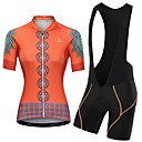 cheap Cycling Jersey & Shorts / Pants Sets-Malciklo Women's Short Sleeve Cycling Jersey with Bib Shorts - Orange+White Orange / Black Floral Botanical Bike Clothing Suit Breathable Quick Dry Reflective Strips Sweat-wicking Sports Floral