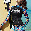 cheap Sexy Bodies-Women's Rash Guard Dive Skin Suit Elastane Diving Suit UV Sun Protection Windproof Long Sleeve Swimming Solid Colored Painting Autumn / Fall Spring Summer / Stretchy