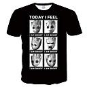 povoljno Seksi kostimi-Veći konfekcijski brojevi Majica s rukavima Muškarci Grafika / Crtani film Okrugli izrez Slim, Print Crn