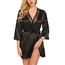 cheap Sexy Bodies-Women's Super Sexy Robes / Satin & Silk / Suits Nightwear - Lace / Bow Solid Colored White Black Red M L XL / Deep V