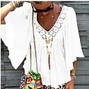 povoljno Modne ogrlice-Veći konfekcijski brojevi Majica Žene Dnevni Nosite Jednobojni V izrez Slim, Čipka / Nabori Obala / Proljeće / Ljeto / Jesen