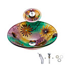 cheap Vessel Sinks-Bathroom Sink / Bathroom Faucet / Bathroom Mounting Ring Contemporary - Tempered Glass Bowl