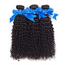 halpa Aitohiusperuukit-3 pakettia Brasilialainen Kinky Curly Käsittelemätön aitoa hiusta 100% Remy Hair Weave -paketit Headpiece Bundle Hair Aitohiuspidennykset 8-28 inch Luonnollinen väri Hiukset kutoo Hajuton Naisten
