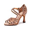 povoljno Cipele za latino plesove-Žene Plesne cipele Svila Cipele za latino plesove Crystal / Rhinestone Štikle Tanka visoka peta Moguće personalizirati Crn / Braon / Seksi blagdanski kostimi