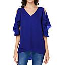 ieftine Cercei la Modă-Pentru femei În V - Mărime Plus Size Bluză De Bază - Mată Roșu-aprins XXXL