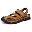 זול סנדלים לגברים-בגדי ריקוד גברים נעלי נוחות עור נאפה Leather אביב קיץ יום יומי סנדלים נושם שחור / חום בהיר / בורדו