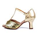זול שרשרת אופנתית-בגדי ריקוד נשים נעלי ריקוד סינטטיים נעליים לטיניות עקבים עקב רחב זהב / כסף / הצגה / עור / אימון