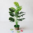 abordables Plantes artificielles-1 pc simple simulation créative plante en pot feuilles vertes ingénierie feuilles vertes 18 fourche tortue arrière feuilles bureau salon étude décoration plantes vertes