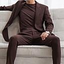 זול Building Blocks-חום / שחור אחיד גזרה צרה כותנה חליפה - פתוח Single Breasted One-button