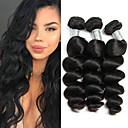 halpa Aitohiusperuukit-3 pakettia Perulainen Löysät aaltoilevat Käsittelemätön aitoa hiusta 100% Remy Hair Weave -paketit Headpiece Bundle Hair Aitohiuspidennykset 8-28 inch Luonnollinen väri Hiukset kutoo Helppo Carry