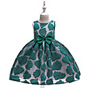 cheap Girls' Dresses-Kids Girls' Active Street chic Trees / Leaves Bow Embroidered Sleeveless Knee-length Dress Red