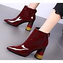 povoljno Ženske čizme-Žene Lakirana koža Jesen zima Čizme Kockasta potpetica Čizme gležnjače / do gležnja Crn / Kava / Lila-roza