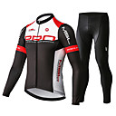 cheap Cycling Jersey & Shorts / Pants Sets-Mysenlan Men's Long Sleeve Cycling Jersey with Tights Red / black Bike Clothing Suit Breathable 3D Pad Quick Dry Sports Polyester Spandex Honeycomb Mountain Bike MTB Road Bike Cycling Clothing Apparel