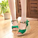 זול סנדלי נשים-בגדי ריקוד נשים PU קיץ סנדלים עקב טריז שחור / אדום / ירוק