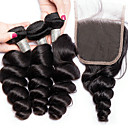 levne Prameny přírodních vlasů-3 balíčky s uzavřením Brazilské vlasy Volné vlny Panenské vlasy Lidské vlasy Vazby Bundle Hair Jeden balíček Solution 8-28 inch Přírodní barva Lidské vlasy Vazby Novorozený Život Klasické Rozšířen
