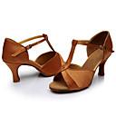 povoljno Cipele za latino plesove-Žene Plesne cipele Saten Cipele za latino plesove / Cipele za salsu Sandale Potpetica po mjeri Moguće personalizirati Braon / Unutrašnji / Koža / EU40