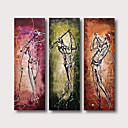 זול ציורים מופשטים-ציור שמן צבוע-Hang מצויר ביד - מופשט אנשים עכשווי מודרני כלול מסגרת פנימית / שלושה פנלים