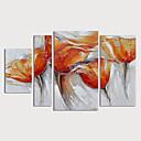 halpa Abstraktit maalaukset-Hang-Painted öljymaalaus Maalattu - Kukkakuvio / Kasvitiede Moderni Sisällytä Inner Frame / 4 paneeli