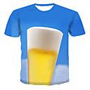 저렴한 인조 합성 레이스 가발-남성용 컬러 블럭 라운드 넥 플러스 사이즈 프린트 - 티셔츠 푸른 XXXXL