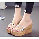 preiswerte Damen Sandalen-Damen Kunststoff Sommer Sandalen Keilabsatz Niete Klar