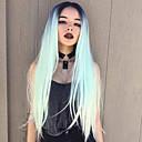 זול פיאות סינטטיות ללא כיסוי-פאות סינתטיות Kinky Straight טבעי סגנון תספורת בוב ללא מכסה פאה שחור / ירוק שיער סינטטי 24 אִינְטשׁ בגדי ריקוד נשים סינטטי שיער אומבר שיער טבעי שחור ירוק פאה ארוך HAIR CUBE / פאה אפרו-אמריקאית