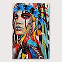 povoljno Apstraktno slikarstvo-Hang oslikana uljanim bojama Ručno oslikana - Ljudi Moderna Uključi Unutarnji okvir
