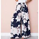 hesapli Moda Küpeler-Kadın's Temel Salaş Geniş Bacak Pantolon - Çiçekli Yüksek Bel Koyu Mavi Gri L XL XXL
