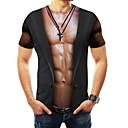preiswerte Anime-Kostüme-Herrn 3D Übergrössen T-shirt, Rundhalsausschnitt Druck Schwarz XXXXL