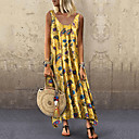 cheap Panties-Women's Basic Sheath Dress - Floral Geometric Green Red Yellow XXL XXXL XXXXL