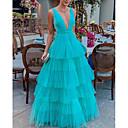 abordables Coiffes-Femme Maxi Balançoire Robe - A Volants, Couleur Pleine Bleu Blanc Rose Claire M L XL Sans Manches