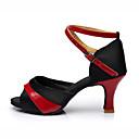 זול נעליים לטיניות-בגדי ריקוד נשים נעלי ריקוד סטן נעליים לטיניות שחבור עקבים עקב רחב מותאם אישית שחור וזהב / שחור וכסף / שחור / אדום / הצגה / עור
