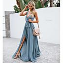 זול שמלות שושבינה-גזרת A צלילה עד הריצפה שיפון שמלה לשושבינה  עם פפיון(ים) על ידי LAN TING Express