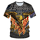 cheap Building Blocks-4th of july Men's Daily Wear Club Street chic / Exaggerated T-shirt - Color Block / 3D / Animal Print Gray XXL