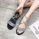 hesapli Kadın Sandaletleri-Kadın's Ayakkabı PU Yaz Günlük Sandaletler Düz Taban Açık Uçlu Günlük için Altın / Siyah / Gümüş