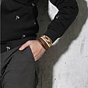 זול צמידי גברים-4pcs בגדי ריקוד גברים צמיד חרוזים צמידי עור נול צמיד קלוע מארג הצהרה פאנק טרנדי רוק צבעוני פלדת טיטניום צמיד תכשיטים חום עבור Party מתנה יומי קרנבל מועדונים