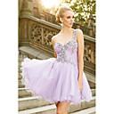 זול שמלות שושבינה-גזרת A כתפיה אחת קצר \ מיני שיפון מסיבת קוקטייל שמלה עם אפליקציות / אסוף על ידי JUDY&JULIA