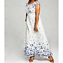 povoljno Ženske sandale-Žene Veći konfekcijski brojevi Haljina - Print, Geometrijski oblici Spuštena ramena Maxi Visoki struk