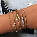preiswerte Echthaar Strähnen-5 Stück Damen Vintage Armbänder Ohrringe / Armband Armband mit Anhänger Mehrlagig Hülle Einfach Klassisch Retro Ethnisch Modisch Hülle Armband Schmuck Gold Für Alltag Schultaschen Strasse Festtage