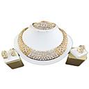 זול סט תכשיטים-בגדי ריקוד נשים זהב סטי תכשיטי כלה תגובת שרשרת גַל וינטאג' אבן נוצצת עגילים תכשיטים זהב עבור חתונה ארוסים מתנה 1set