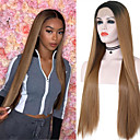 cheap Synthetic Lace Wigs-Synthetic Wig / Synthetic Lace Front Wig / Cosplay Wig Natural Straight Style Middle Part Lace Front Wig Ombre Black / Strawberry Blonde Synthetic Hair 24 inch Women's Adjustable / Heat Resistant
