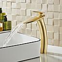Недорогие Для умывальника-Ванная раковина кран - Водопад Матовый По центру Одной ручкой одно отверстиеBath Taps