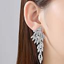 זול סטים של תכשיטים-בגדי ריקוד נשים לבן עגיל נברשת כנפי מלאך קוראני גדול עגילים תכשיטים כסף עבור חתונה Party קרנבל פֶסטִיבָל זוג 1