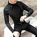 billige Herresekker-Tynn Rund hals EU / USA størrelse Skjorte Herre - Ensfarget Grunnleggende Hvit / Langermet